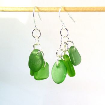 Emerald Green Sea Glass Sterling Silver Drop Earrings, Seaham Sea Glass E218
