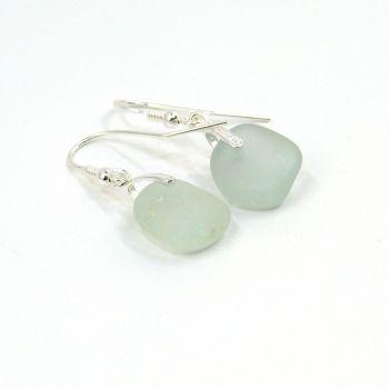 Seaham Pale Blue Sea Glass Sterling Silver Earrings e228