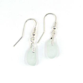 Seaham Pale Blue Sea Glass Sterling Silver Earrings  E231