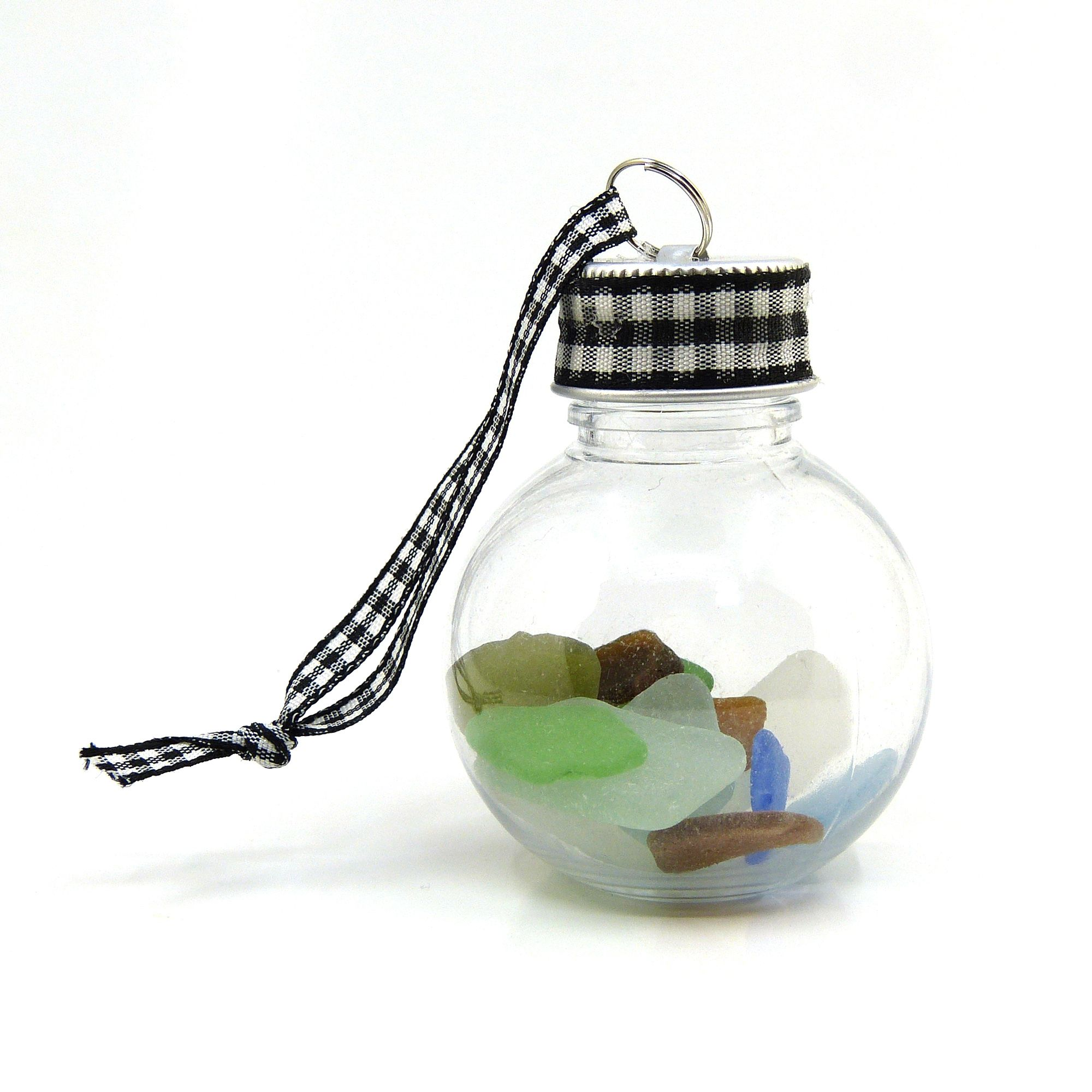 English Sea Glass filled Hanging Bauble with Northumberland Tartan Ribbon, Christmas/Wedding Decoration, Holiday Gift from Northumberland