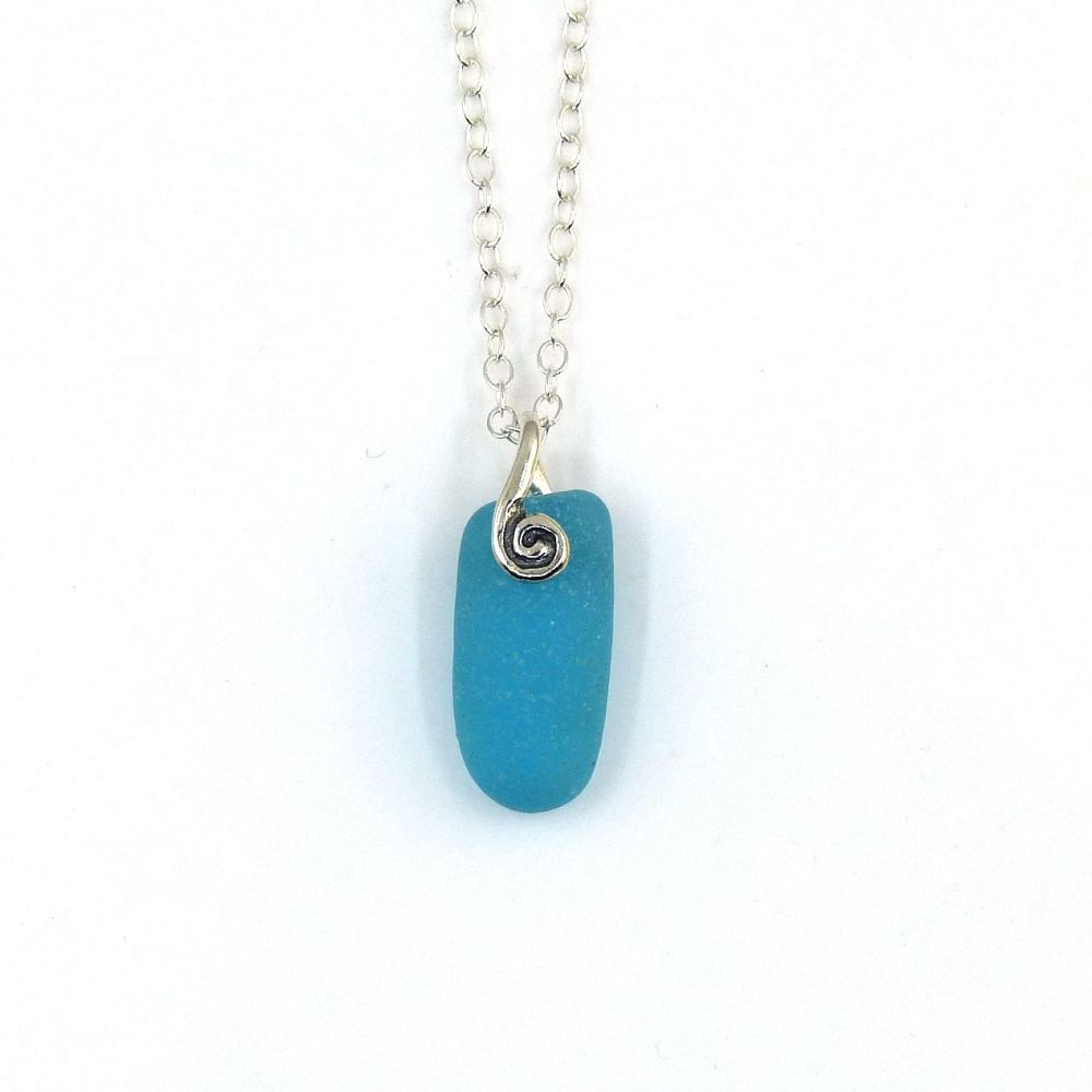 Turquoise Sea Glass Pendant Necklace ELODIE