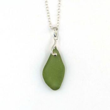Green Sea Glass Necklace JASMIN