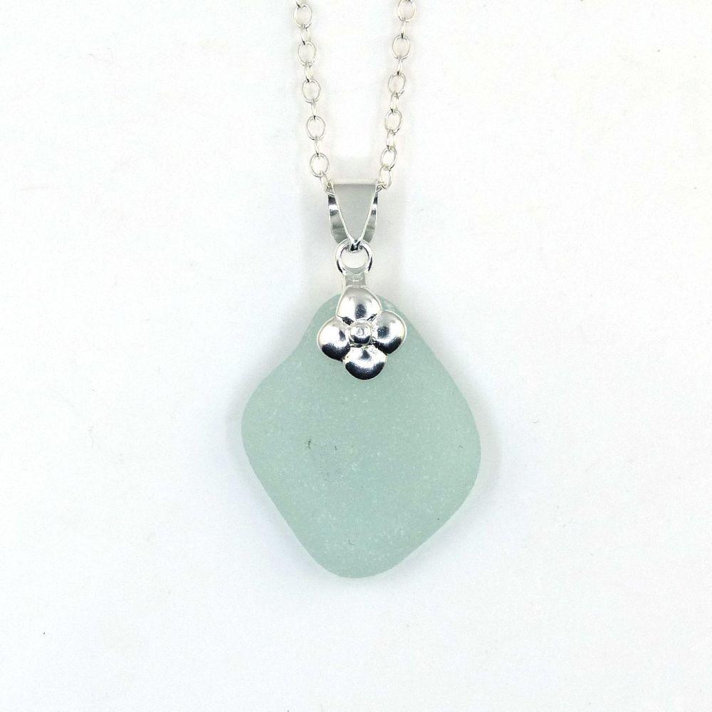 Pale Aqua Blue Sea Glass Necklace, Beach Glass Necklace, Seaglass Pendant,