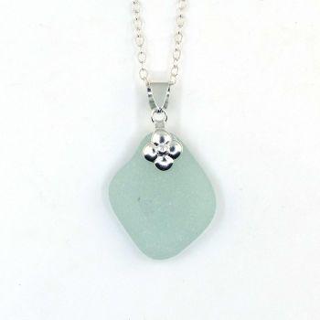 Pale Aqua Blue Sea Glass Necklace, Beach Glass Necklace, Seaglass Pendant, MARYSE