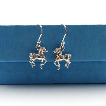 Sterling Silver Pony Drop Earrings