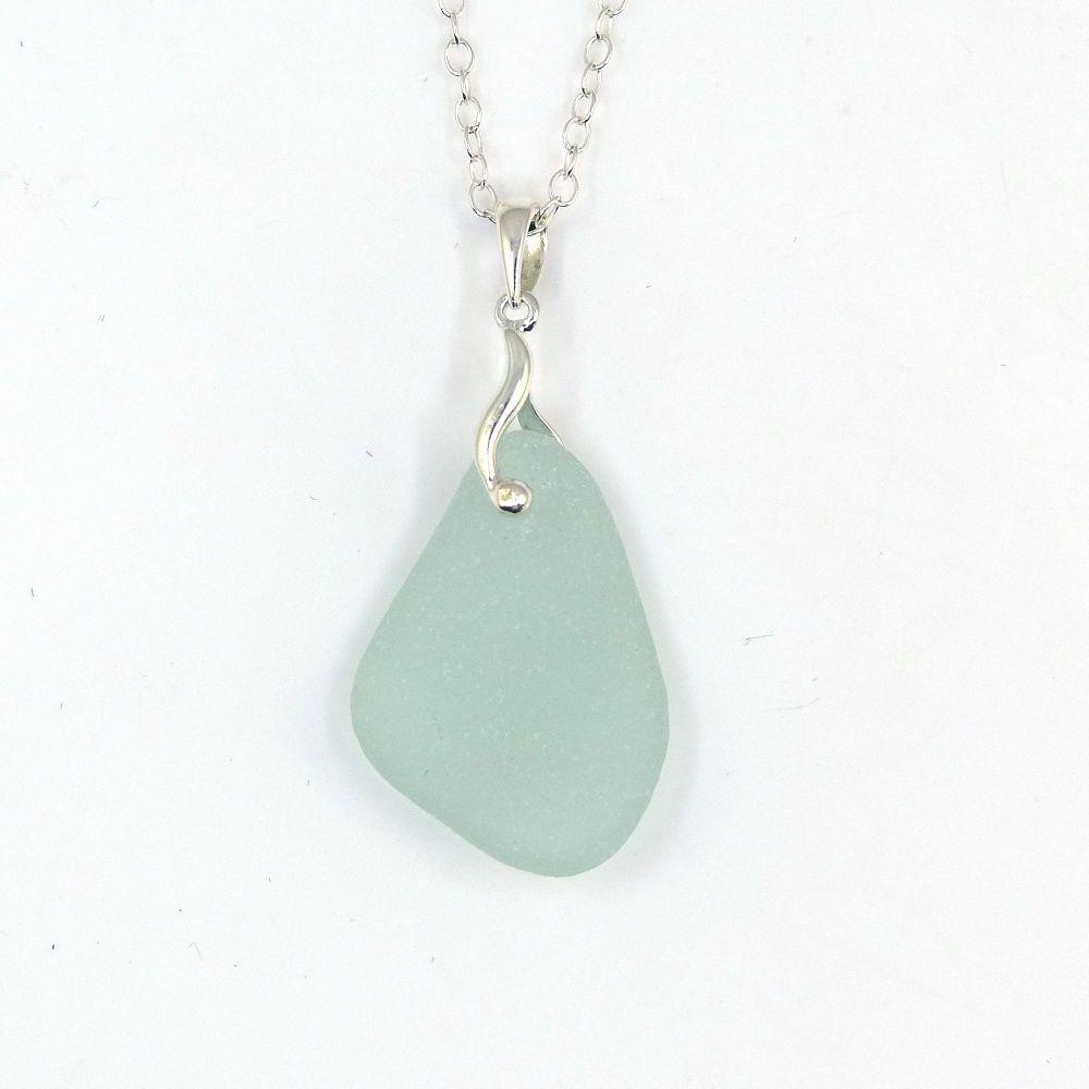 Seafoam Sea Glass and Silver Necklace NICOLETTE