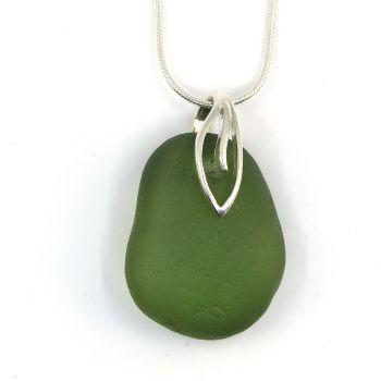 Green Sea Glass Necklace  JAYNE
