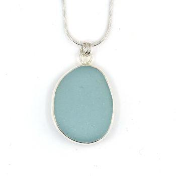 Bezel Set Pale Aquamarine Blue Sea Glass Pendant  GALI