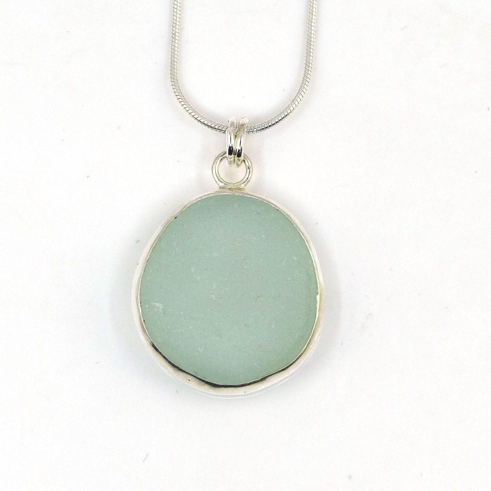 Bezel Set Seafoam Green Sea Glass Pendant Necklace ATHENA