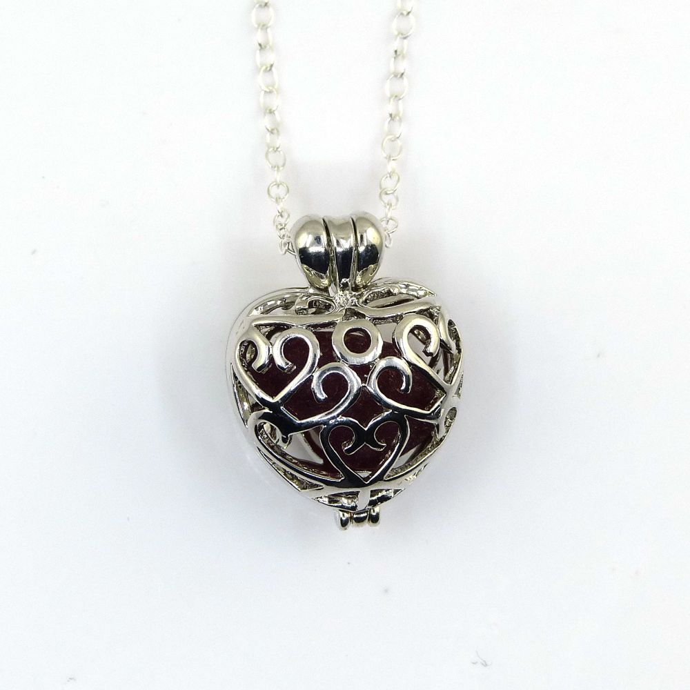 Deep Red  Sea Glass from Seaham in a Heart Locket L202