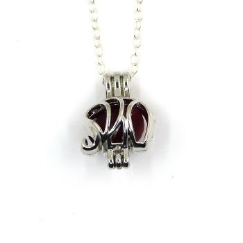 Tiny Red Sea Glass Elephant Locket Necklace L205