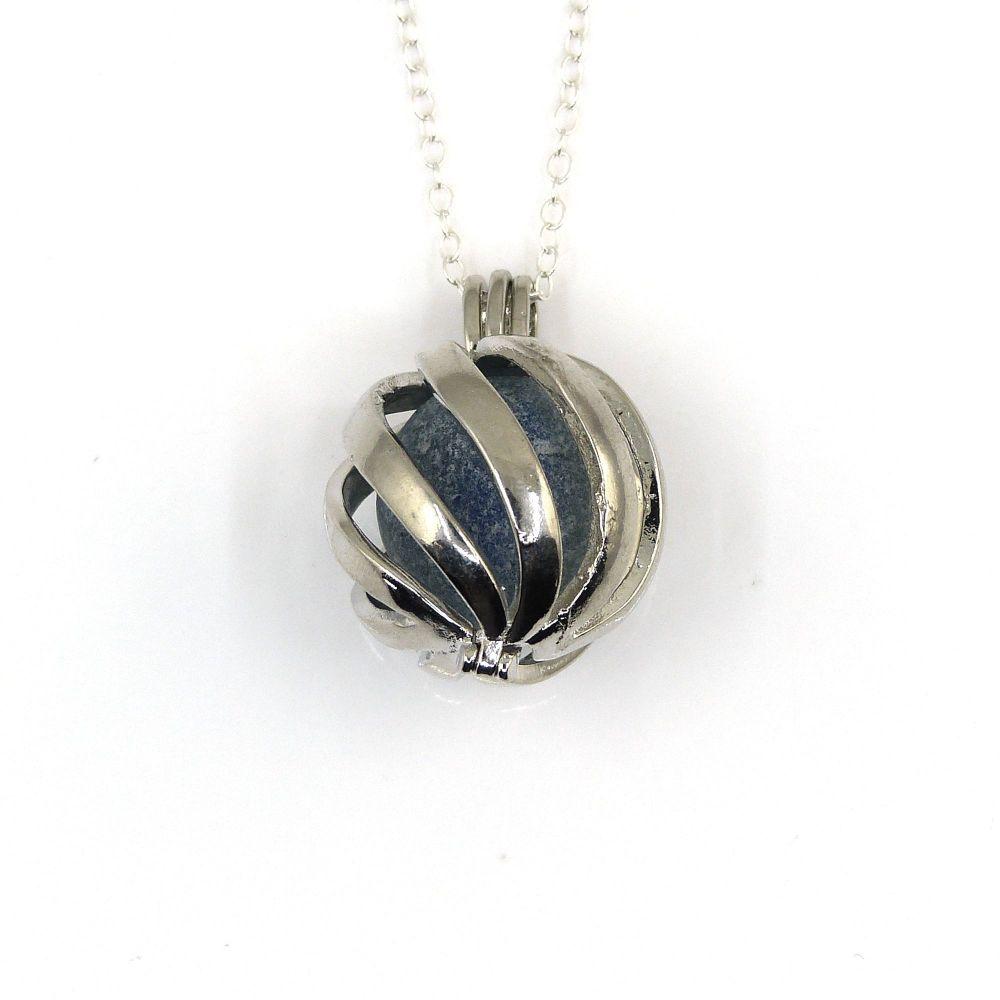 Ocean Blue Sea Glass Marble in Swirl Locket L207