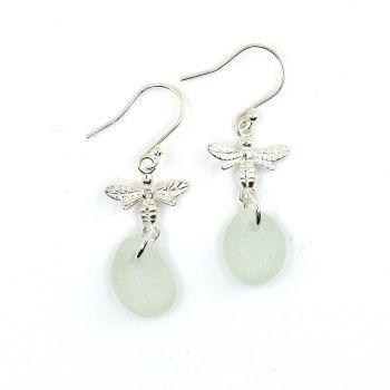 Seaham Pale Blue Sea Glass Sterling Silver Bee Earrings