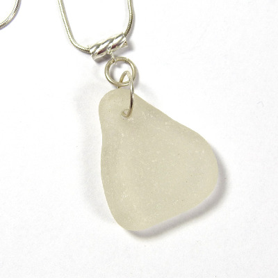 White Sea Glass on Sterling Silver Necklace MILLIE