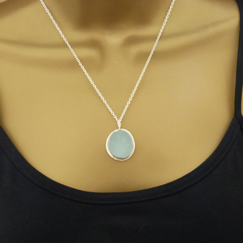 arabella seafoam blue sea glass sterling silver handmade bezel maureen gilb