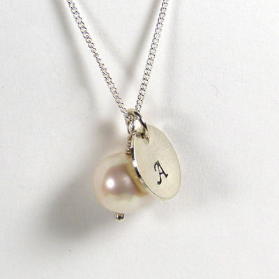 personalised pearl and sterling silver disc necklace perfect for bride and