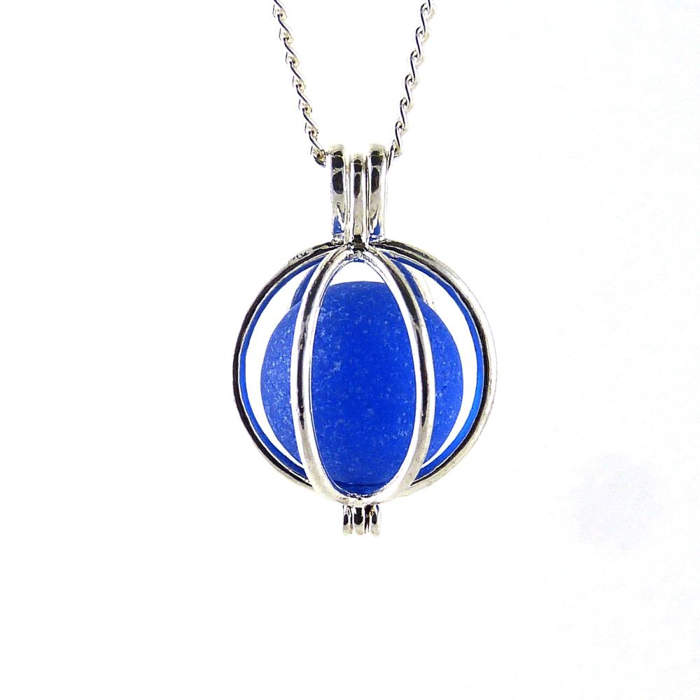 Cobalt Blue Sea Glass Marble Locket Necklace