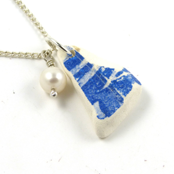 Beach Pottery on Sterling Silver Necklace