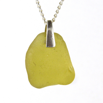 Golden Olive Sea Glass Pendant Necklace - IRINA