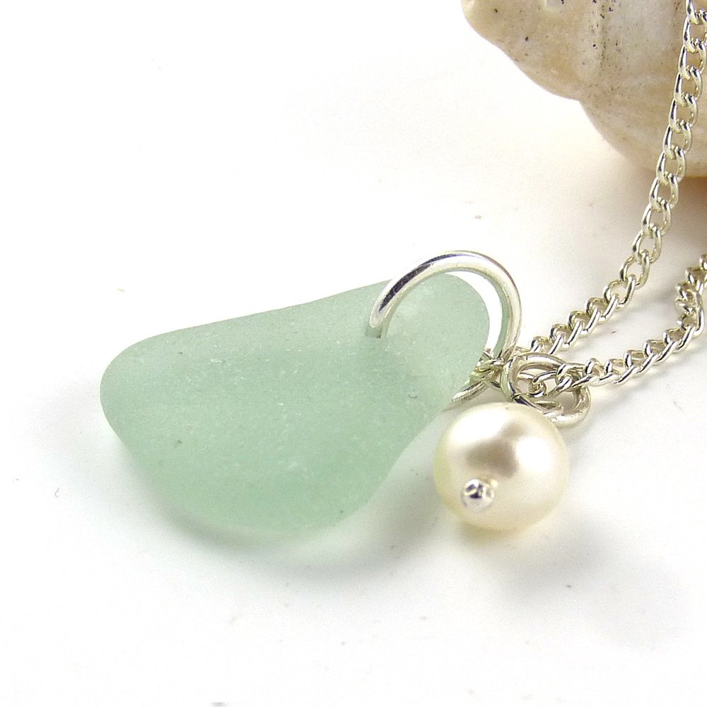 English Sea Glass, Freshwater Pearl, Sterling Silver Chain