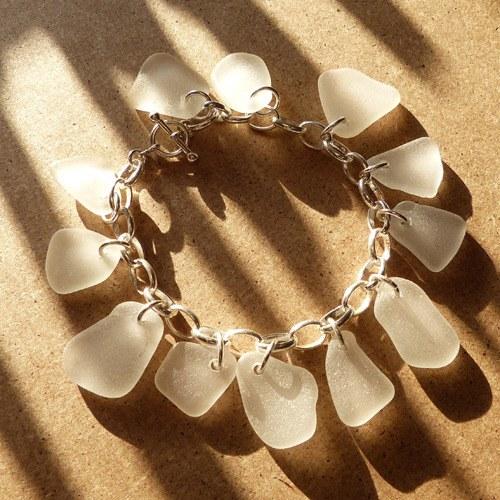 white sea glass charm braceet (3) copy