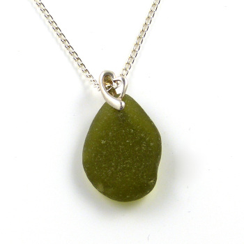 Autumn Green Sea Glass Necklace MARCI