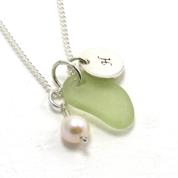 Personalised Lime Green Sea Glass Necklace
