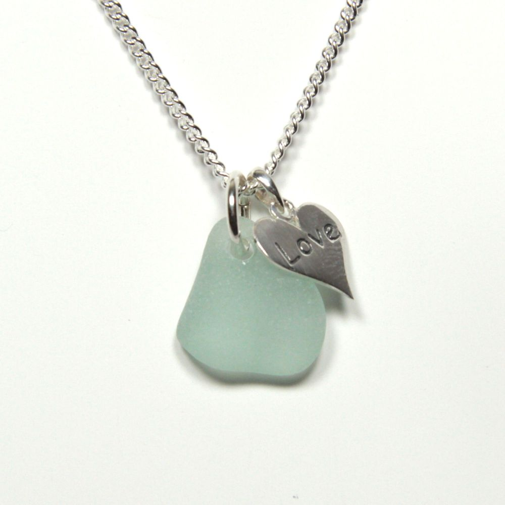 Sea Glass and Sterling Silver Love Heart Necklace, Modern, Bridal, Everyday