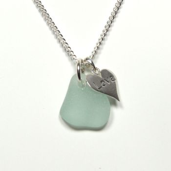 Sea Glass and Sterling Silver Love Heart Necklace, Modern, Bridal, Everyday MIYA