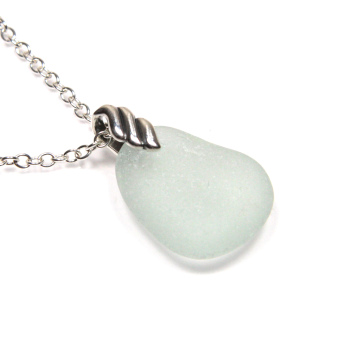Sea Glass and Silver Necklace ELYZA