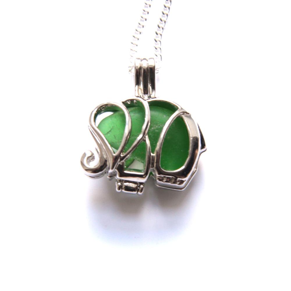 Bright Green Sea Glass Elephant Locket Necklace