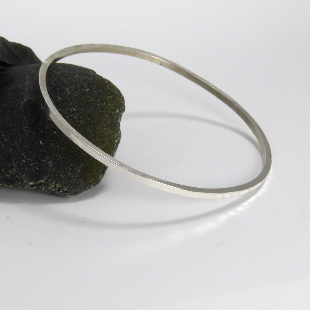 Sterling Silver Hammered Square Wire Bangle
