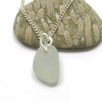 Sea Glass Necklace Pale Cyan Blue on Sterling Silver Necklace PERLA