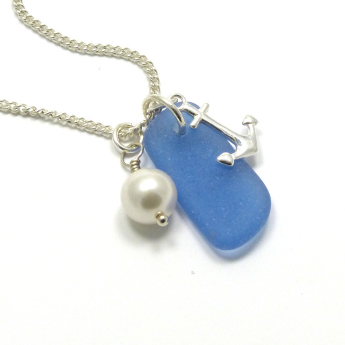 Sea Glass Sterling Silver Anchor Necklace