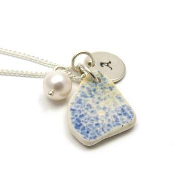 Personalised Blue and White Beach Pottery Necklace