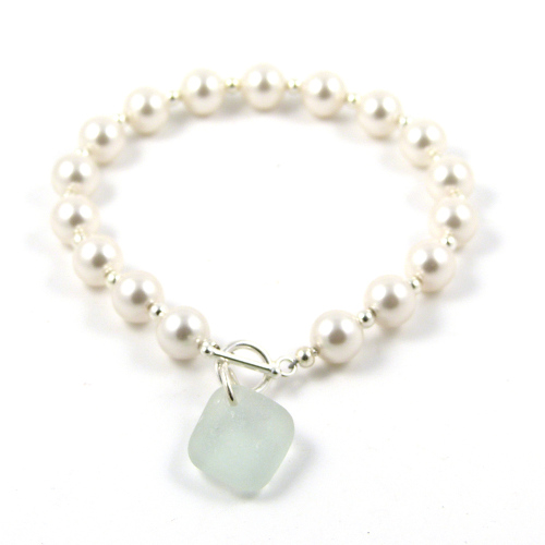 Swarovski Pearl and Sea Glass Bracelet