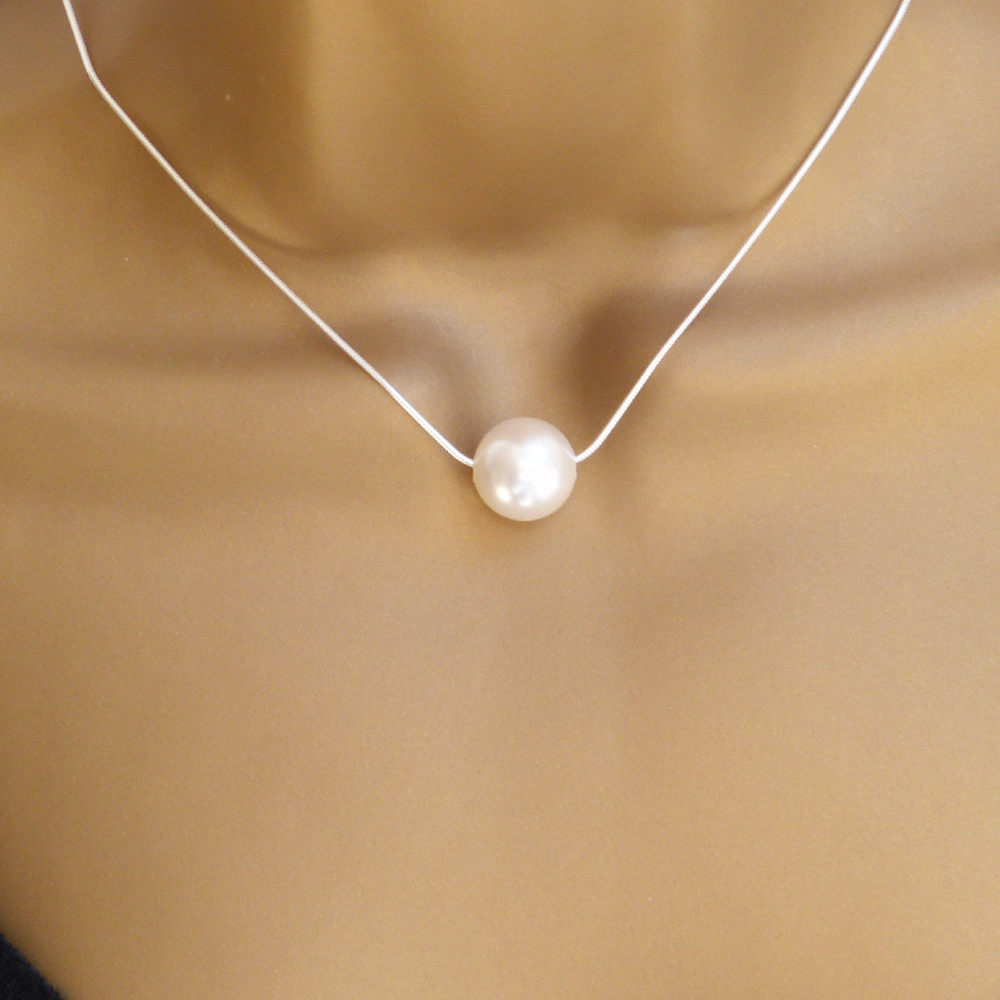 Single Large Swarovski Crsytal White Pearl Necklace,  Bride, Bridesmaid