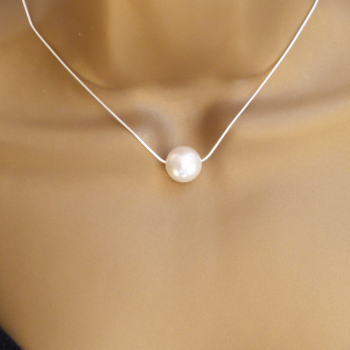 Large Floating Swarovski Crystal White Pearl Necklace,  Bride, Bridesmaid