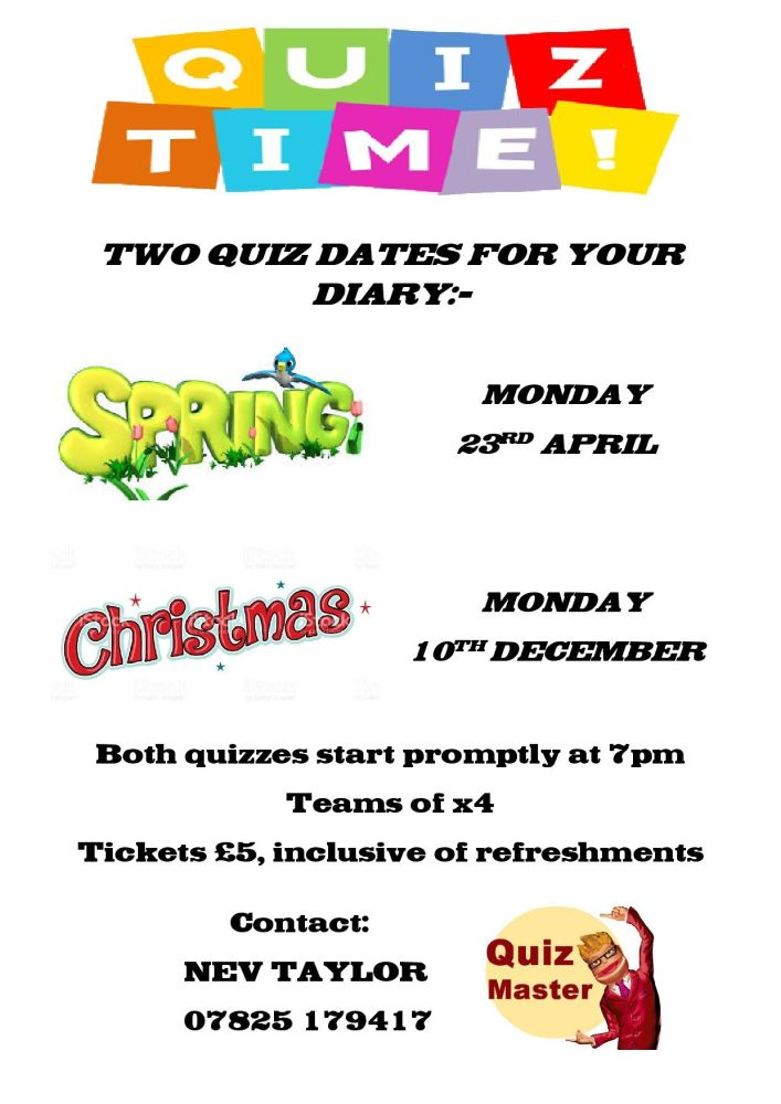 TWO QUIZ DATES FOR YOUR DIARY