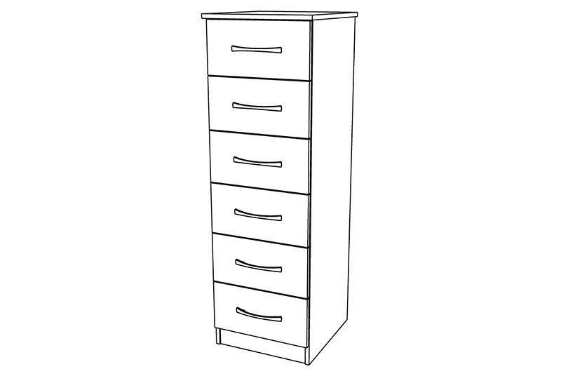 Siena 6 Drawer Narrow Chest
