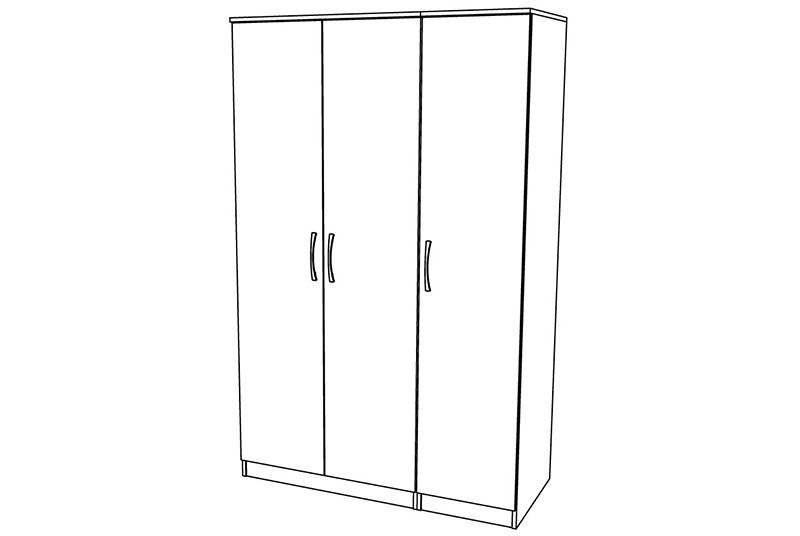 Siena 3 Door Wardrobe - TALL