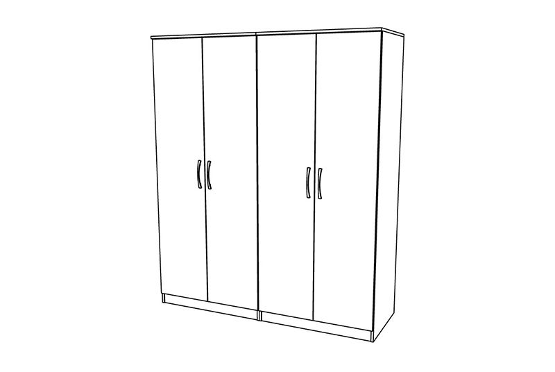 Siena 4 Door Wardrobe - TALL