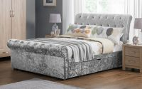 Veronica Double 2 Drawer Storage Bed - Silver Crushed Velvet