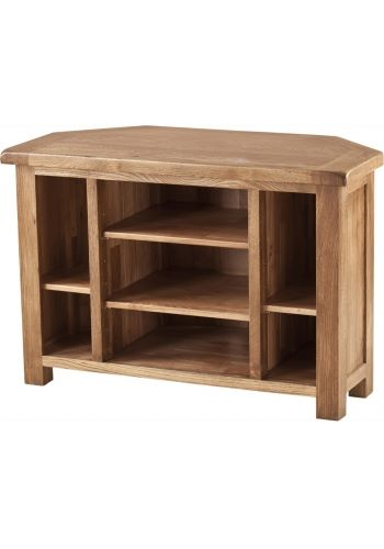 Rustic Solid Oak Corner Video Unit