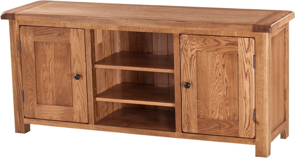 Rustic Solid Oak Large TV/Video Cabinet with Doors
