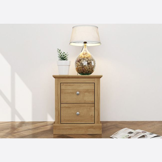 Devon Oak 2 Drawer Bedside Cabinet