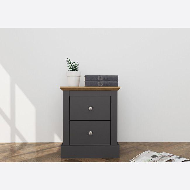 Devon Charcoal & Oak 2 Drawer Bedside Cabinet