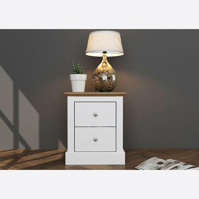 Devon White & Oak 2 Drawer Bedside Cabinet