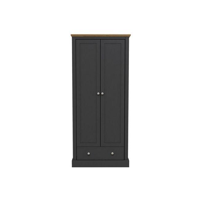 Devon Charcoal & Oak 2 Door Wardrobe