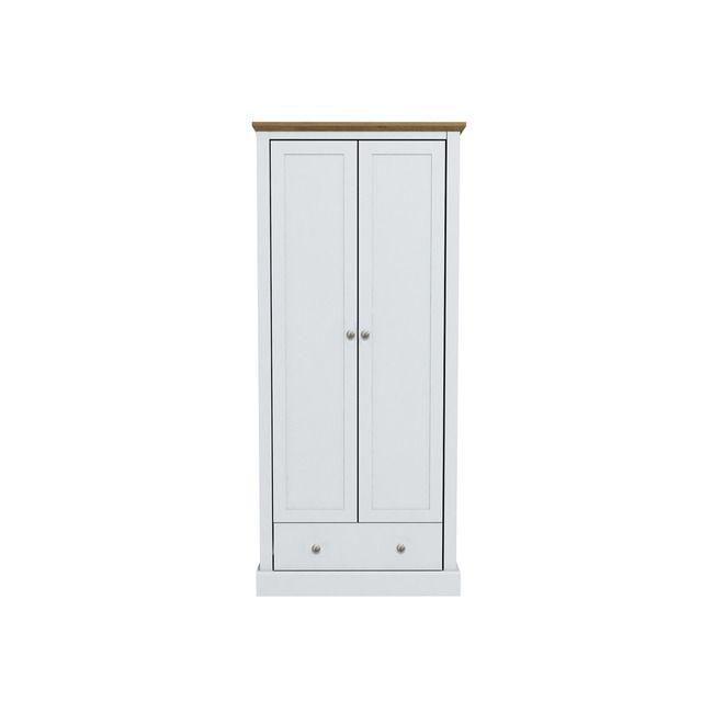 Devon White & Oak 2 Door Wardrobe